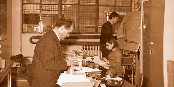 El ingeniero en 1966 en la primera oficina de IGV en Milán
